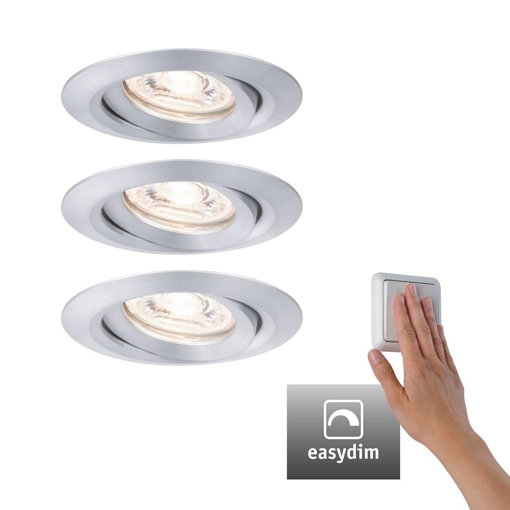 Paulmann LED Einbaustrahler »3er-Set Nova mini Plus schwenkbar EasyDim 3x4,2W 2.700K Alu 230V«, 3 St., Warmweiß