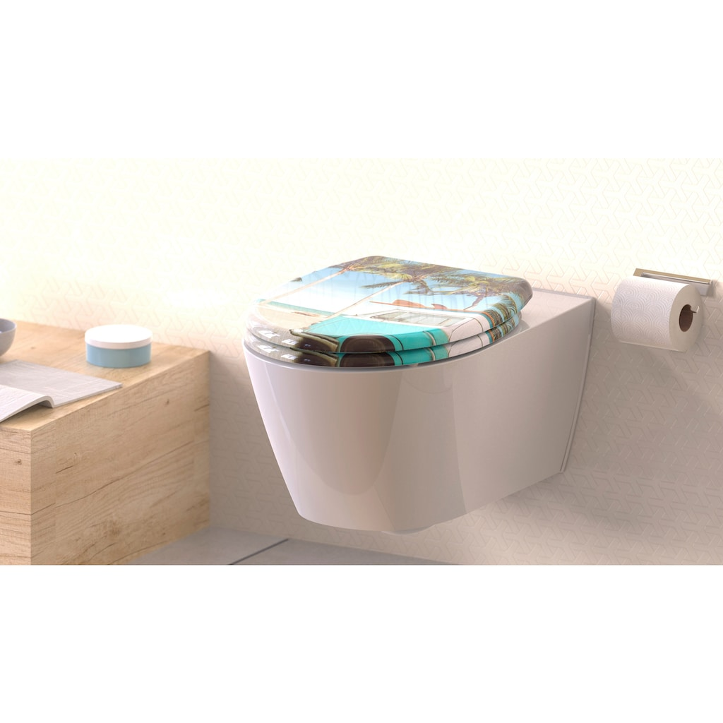 welltime WC-Sitz »Bulli«, hochwertiger abnehmbarer Premium-Toilettendeckel mit Absenkautomatik, Bruchsicher und kratzfest, mit Schnellverschluss, geeignet für alle handelsüblichen WC's