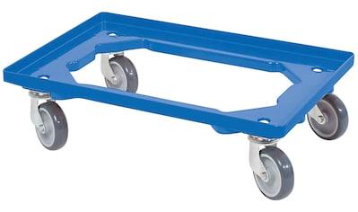 Transportroller, BxT: 60x40 cm, blau 4 Lenkrollen, graue Gummiräder kaufen