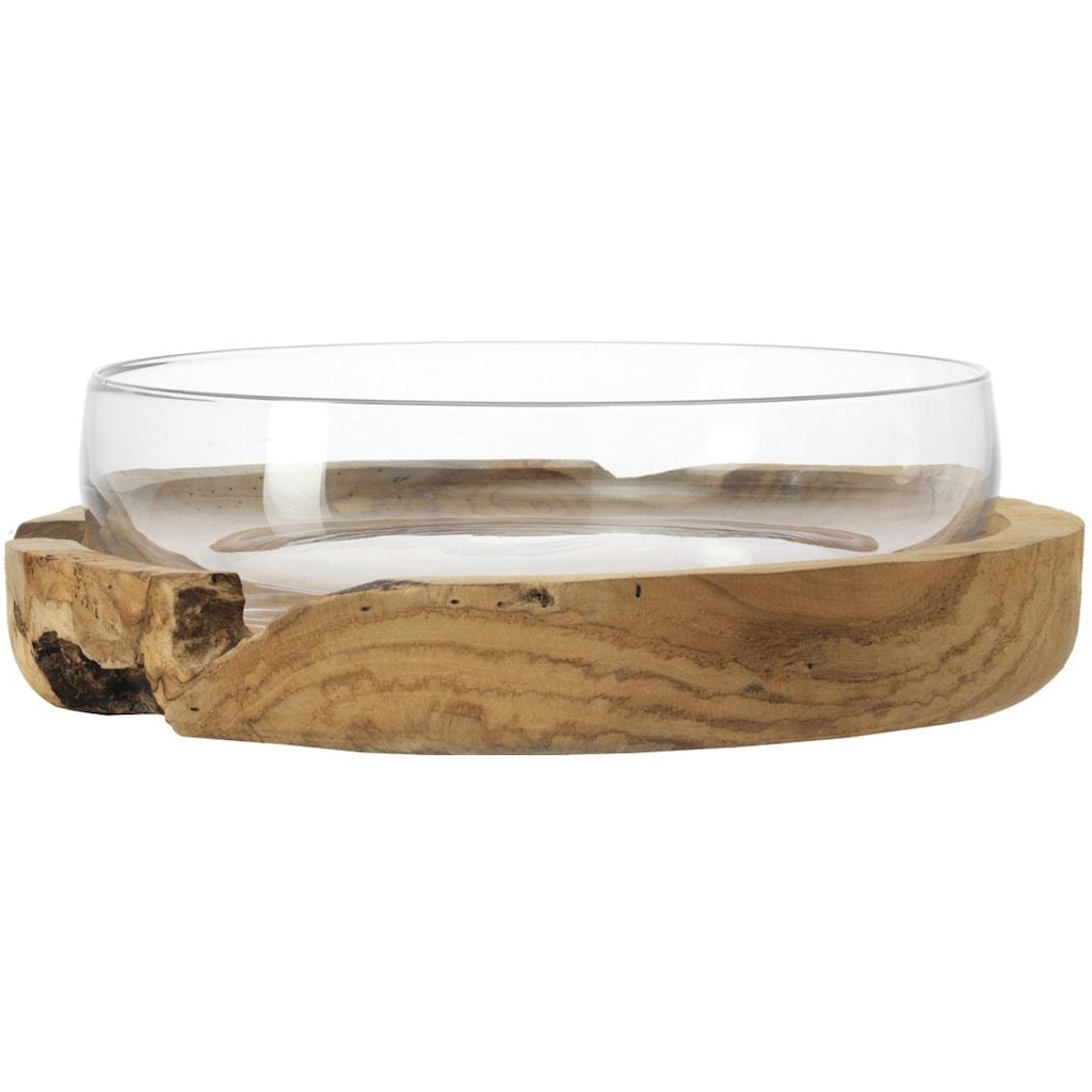 LEONARDO Obstschale »Terra«, Ø 28 cm, mit Teaksockel