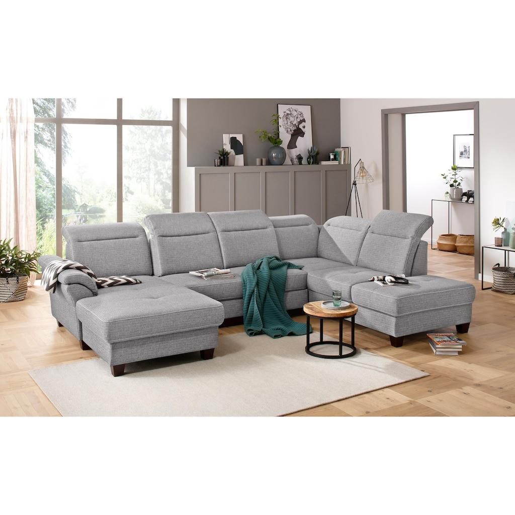 Premium collection by Home affaire Wohnlandschaft »Solvei«, incl. Sitztiefenverstellung und Federkern, wahlweise Kopfteilverstellung und Bettfunktion, Kontrastnaht