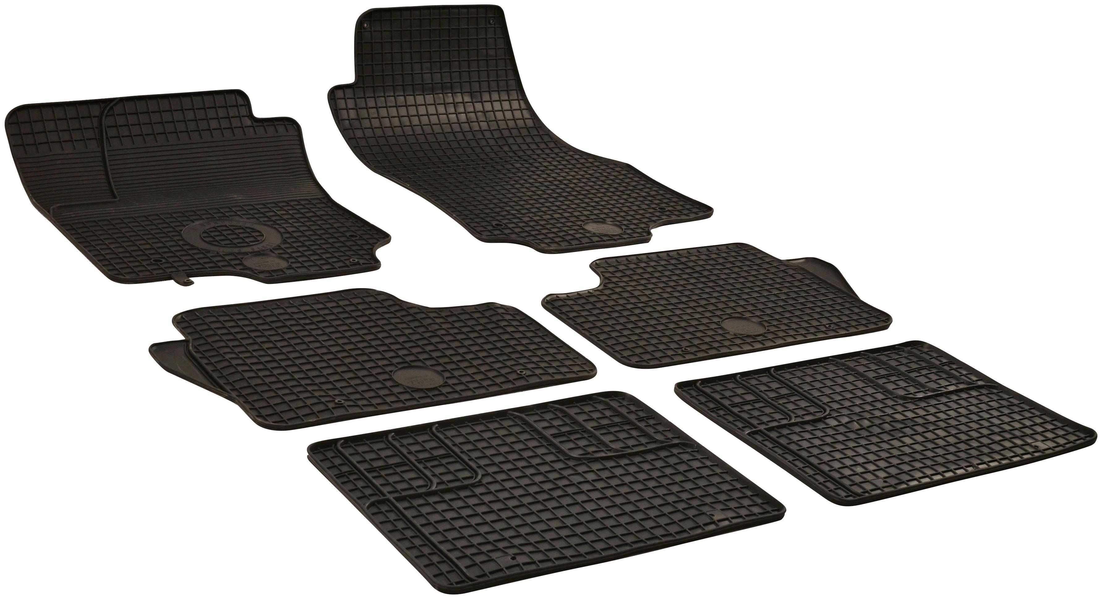 WALSER Passform-Fußmatten, Opel, Zafira B, Großr.lim.-Kastenwagen, (6 St., 2 Vordermatten, Matten mittlere Reihe, Rückmatten), für Opel B 6-teilig BJ 2005 - 2015 schwarz Automatten Autozubehör Reifen Passform-Fußmatten