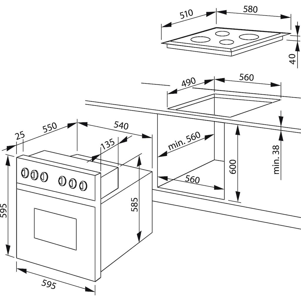 Amica Elektro-Herd-Set »EHE 932 000 W«, EHE 932 000 W, Simple Steam Reinigungsfunktion, (Set)