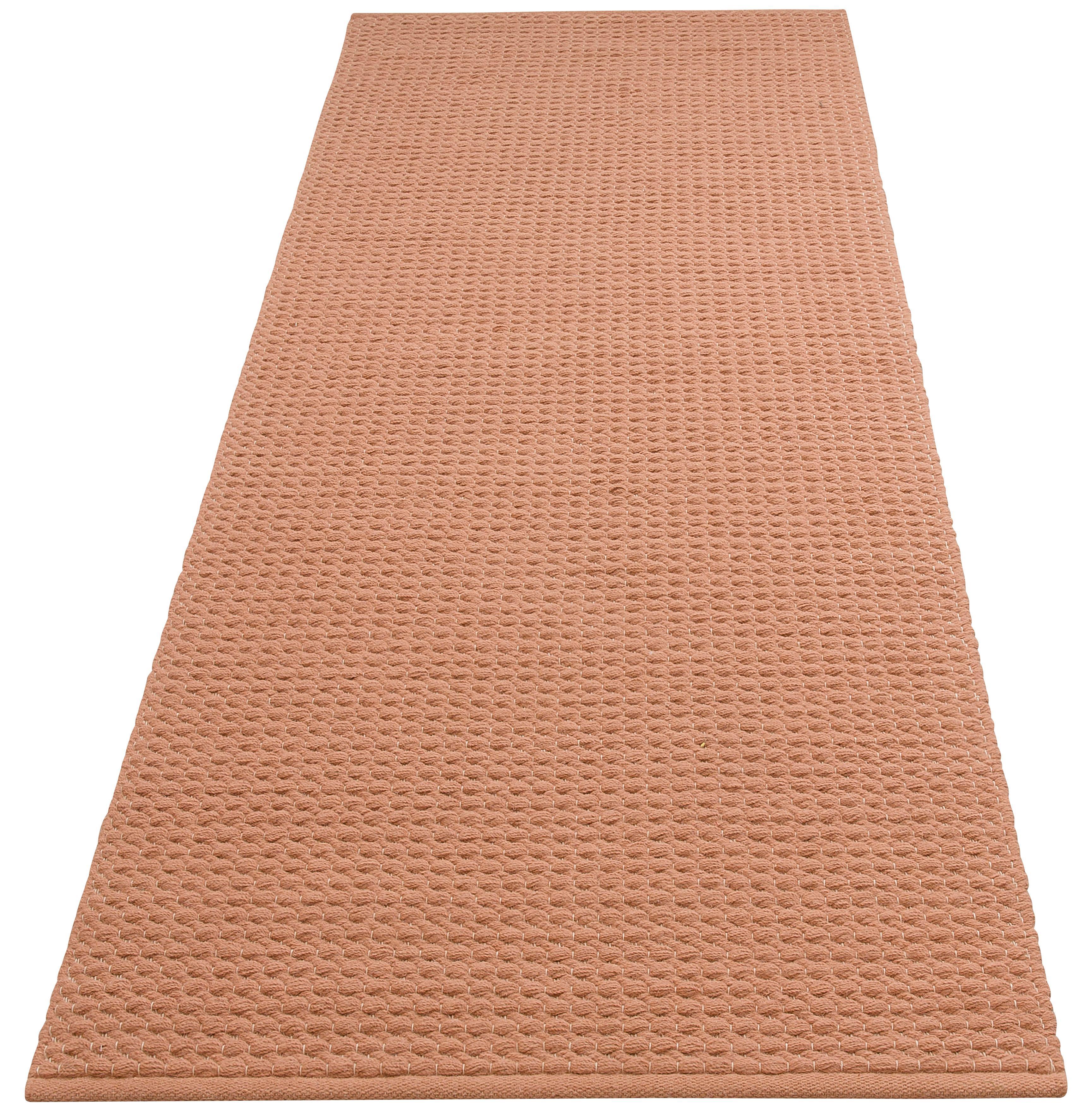 DELAVITA Läufer Sanara, rechteckig, 13 mm Höhe, Strick-Optik rosa Teppichläufer Teppiche und Diele Flur