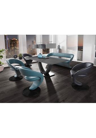 K+W Komfort & Wohnen Essgruppe »Wave«, (Set, 6 St.), Design-Solobank mit 4 Design-Drehstühlen in zwei verschiedenen Farben und Tisch in 180x90cm kaufen