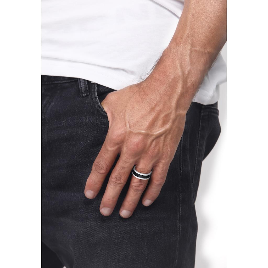Kuzzoi Silberring »Herren Bandring Emaille Casual 925 Silber«