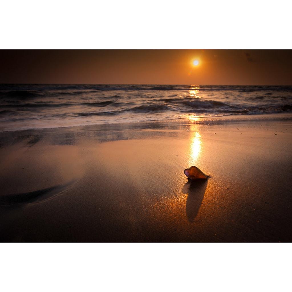 Papermoon Fototapete »Tropischer Strand Sonnenuntergang«, Vliestapete, hochwertiger Digitaldruck