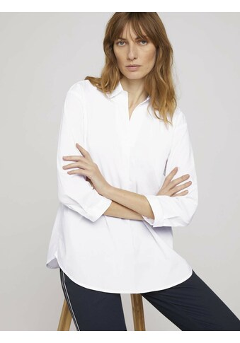 TOM TAILOR Langarmbluse »Popeline Bluse mit Knopfleiste am Rücken« kaufen