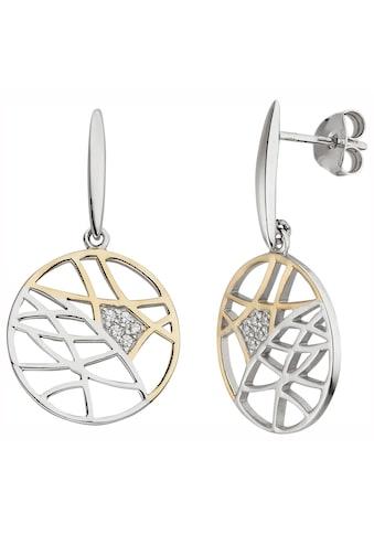 JOBO Paar Ohrhänger, 925 Silber bicolor vergoldet mit 10 Zirkonia kaufen