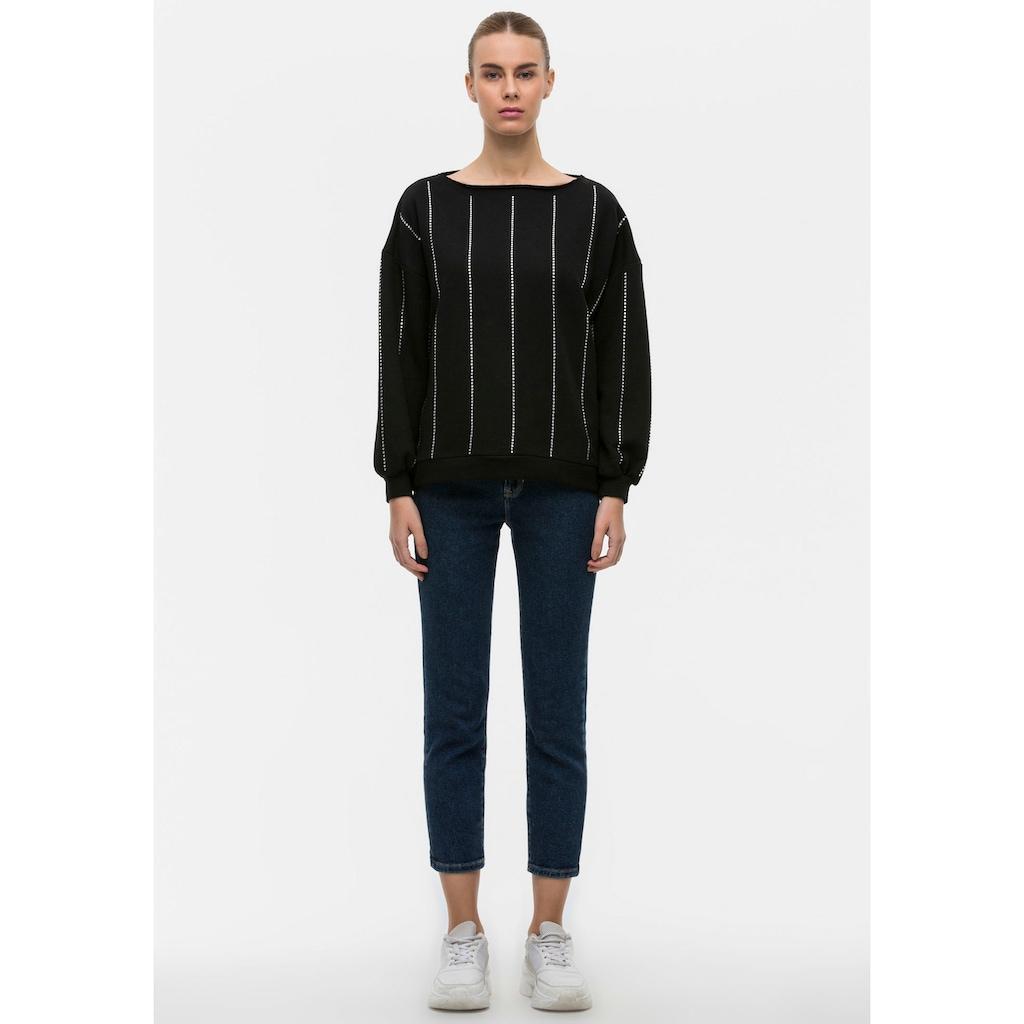 LTB Sweatshirt »BASEDO«, mit funkelnden Glitzersteinchen im Streifen-Look