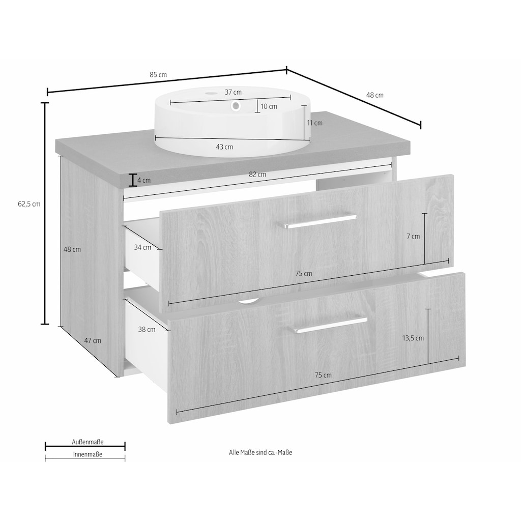 OPTIFIT Waschtisch »Doha«, mit Soft-Close-Funktion, Aufsatzbecken rund, Breite 85 cm