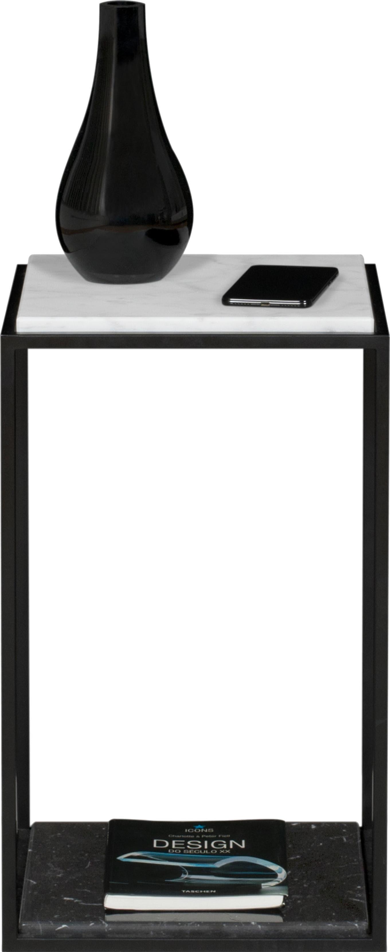 TemaHome Nachttisch Forrest mit 2 Marquina Marmorplatten & Metallgestell schwarz Breite 30 cm   Schlafzimmer > Nachttische   Schwarz - Weiß   Temahome