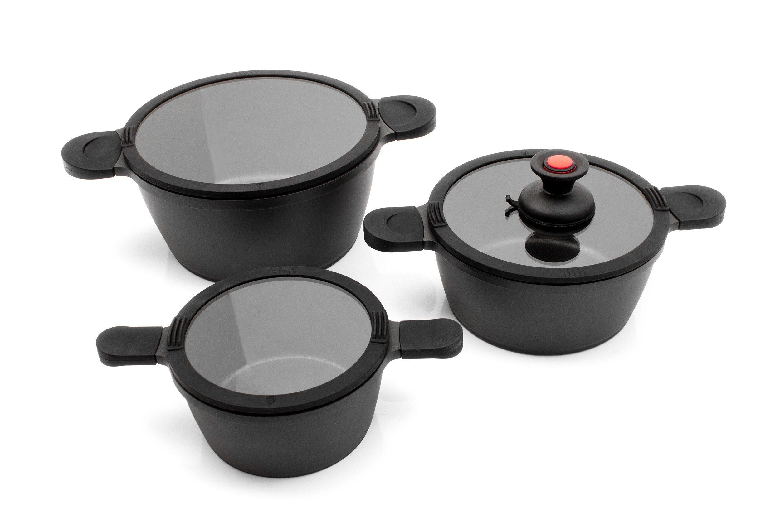 Karcher Topf-Set Toni, Aluminiumguss, (Set), mit Sauggriff schwarz Topfsets Töpfe Haushaltswaren Topf