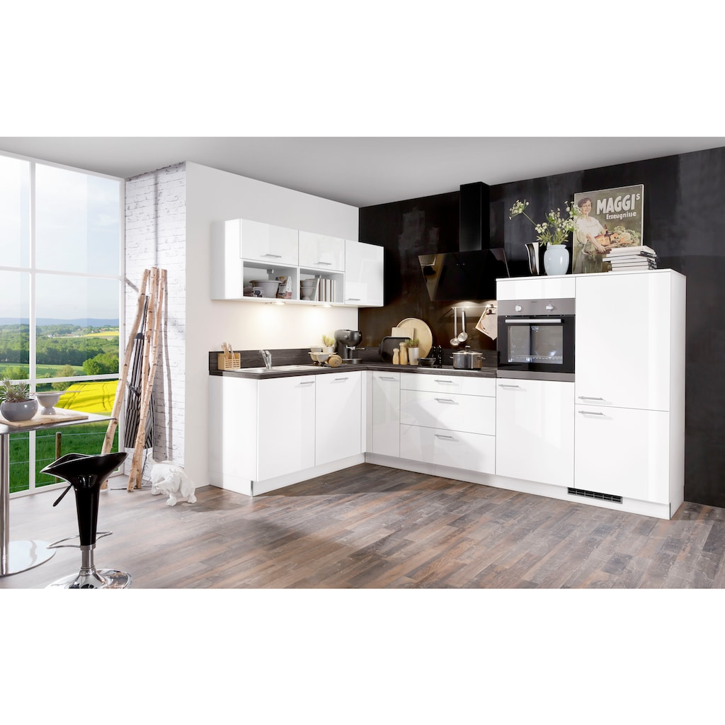 Express Küchen Winkelküche »Scafa«, mit E-Geräten, Stellbreite 305 x 185 cm