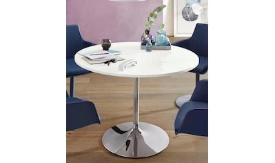 Esstisch, rund, Ø110 cm, Tischplatte weiß Hochglanz kaufen