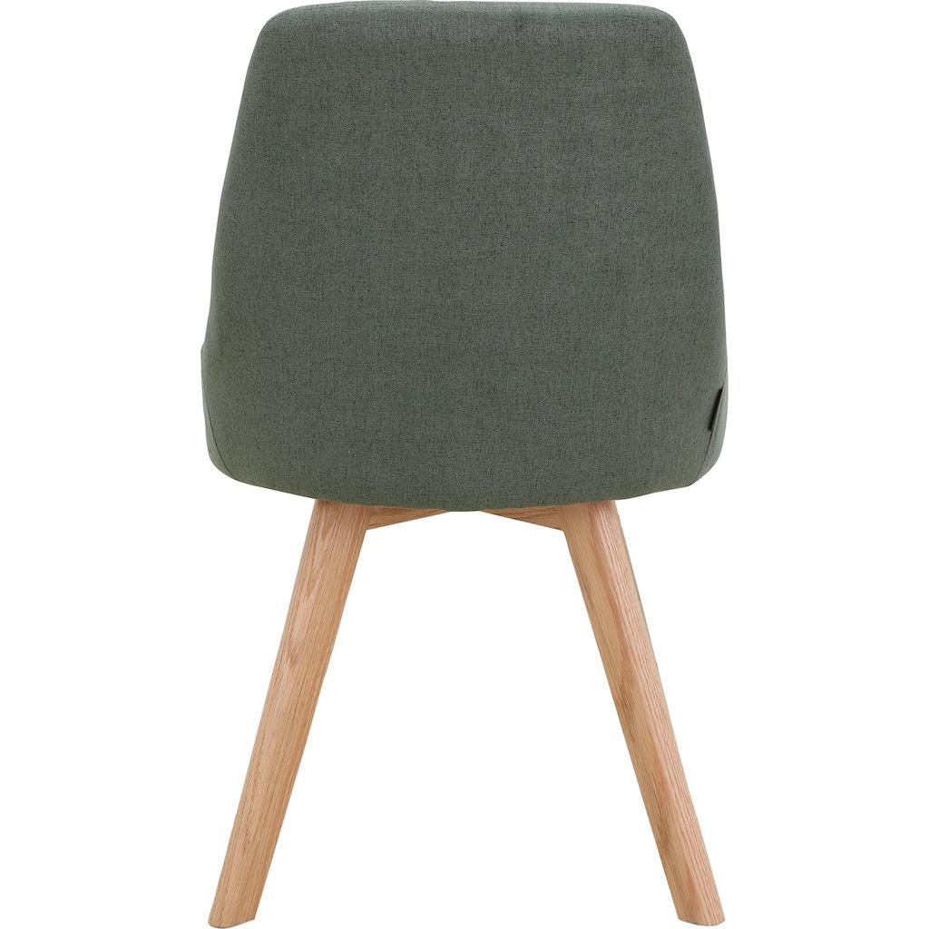INOSIGN Stuhl »Dilla«, 2er Set, aus schönem Webstoff Bezug und massiven Eichenholzbeinen, Sitzhöhe 48 cm
