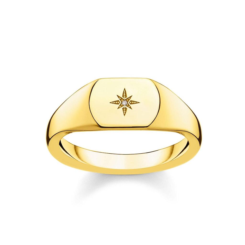 THOMAS SABO Diamantring »D_TR0038-924-14-48, 50, 52, 54, 56, 58, 60, Vintage Stern gold«, mit Diamant