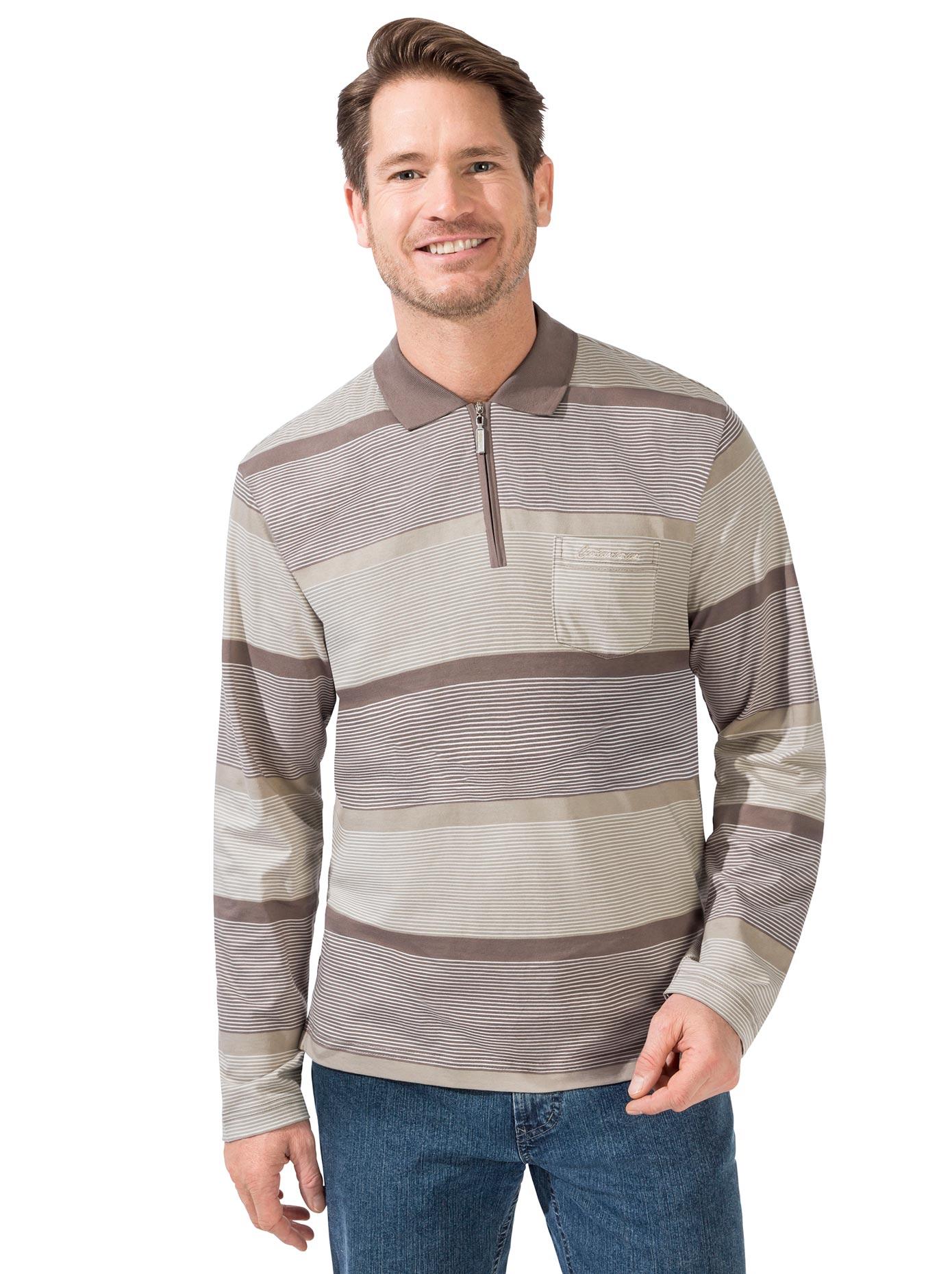 Langarm-Poloshirt braun Herren Langarm Shirts Poloshirts