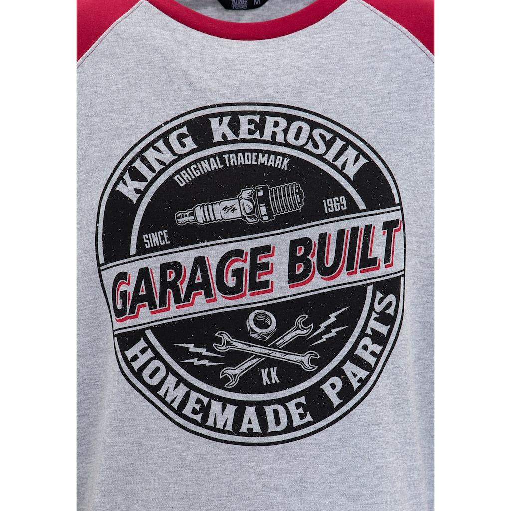 KingKerosin Sweater »Garage Built«, mit Raglanärmeln und auffälligem Print