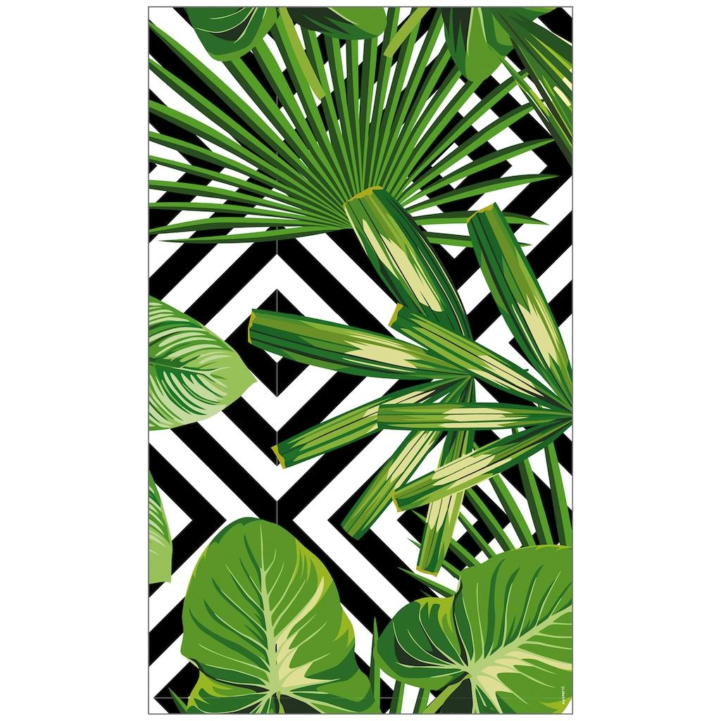 MySpotti Fensterfolie »Look Leaves'n'Cevron«, halbtransparent, glattstatisch haftend, 60 x 100 cm, statisch haftend