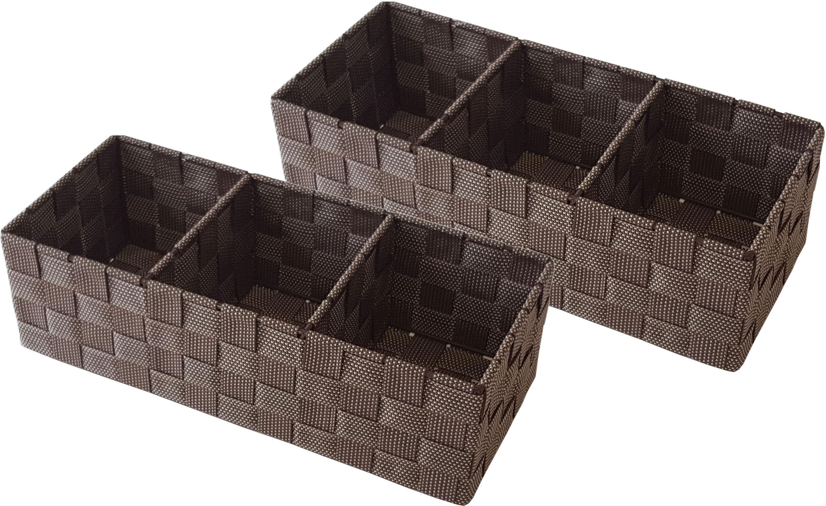 Franz Müller Flechtwaren Aufbewahrungsbox, (Set, 2 St.), mit praktischer Facheinteilung braun Kleideraufbewahrung Aufbewahrung Ordnung Wohnaccessoires Aufbewahrungsbox