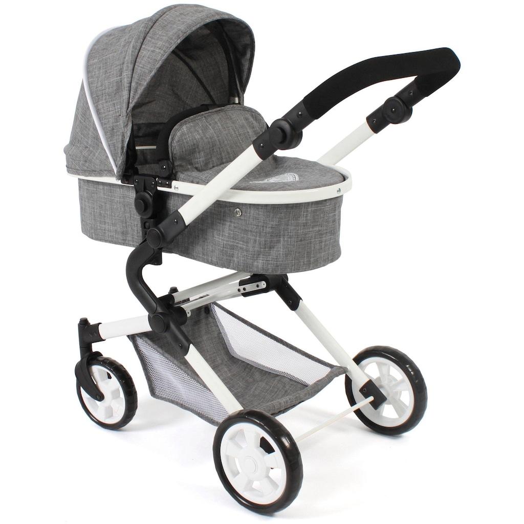 CHIC2000 Kombi-Puppenwagen »Lia, Jeans grey«, mit Puppen-Autositz