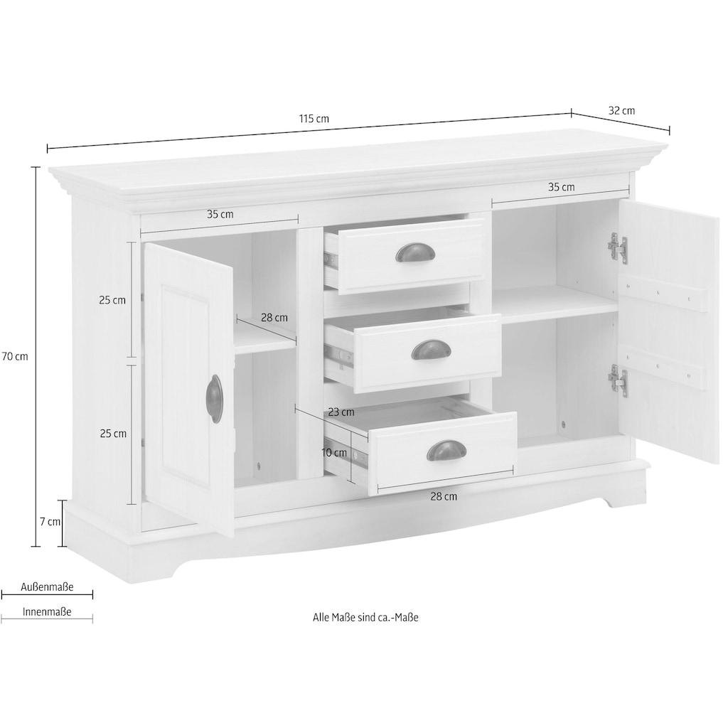Home affaire Sideboard »Eva«, aus massiver Kiefer, Breite 115 cm