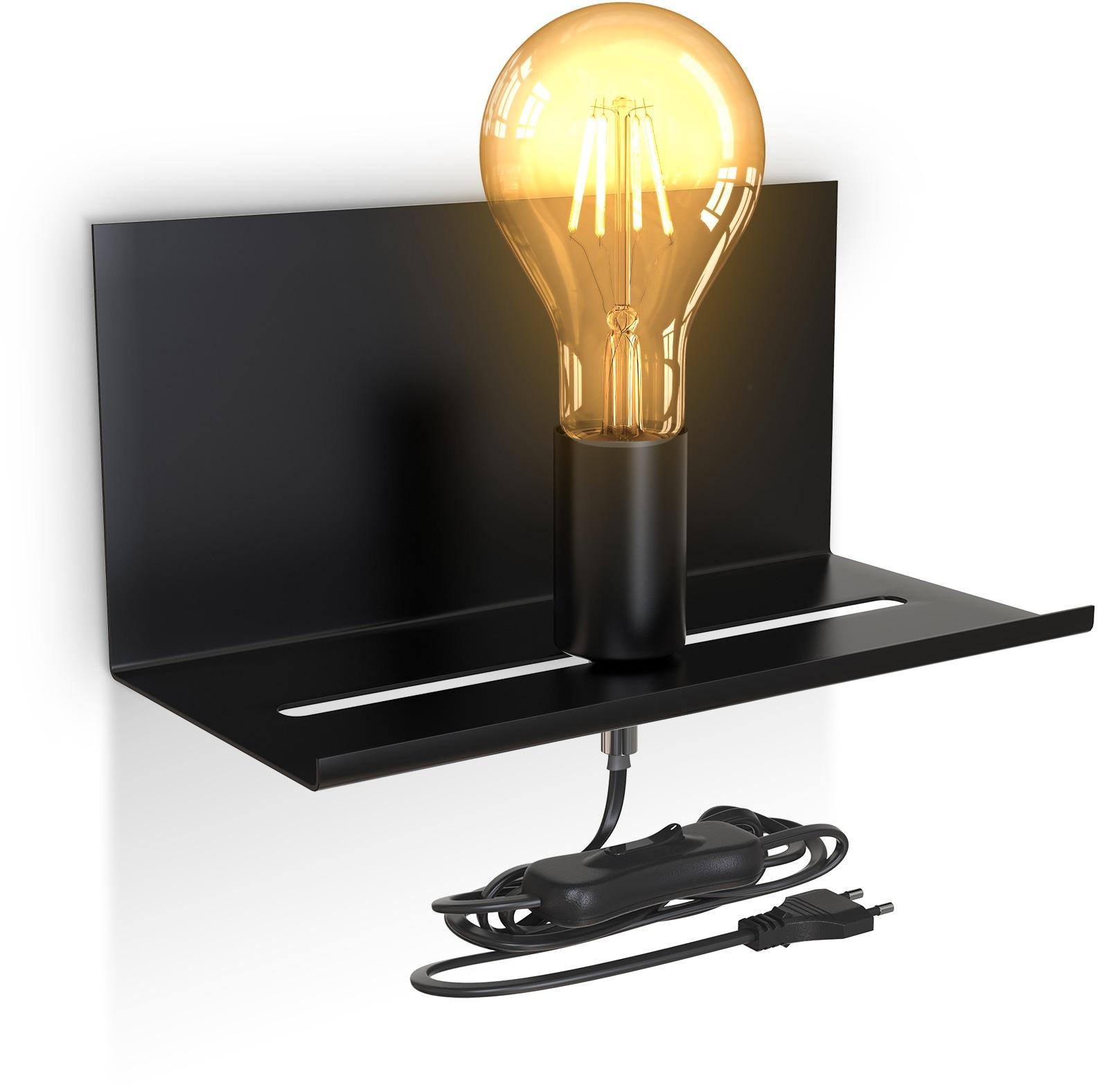 B.K.Licht Wandleuchte, E27, 1 St., Verstellbare Wandlampe mit Ablage, Kabelschalter, Schwarz, 1-flammig, E27, Retro Wandlampe
