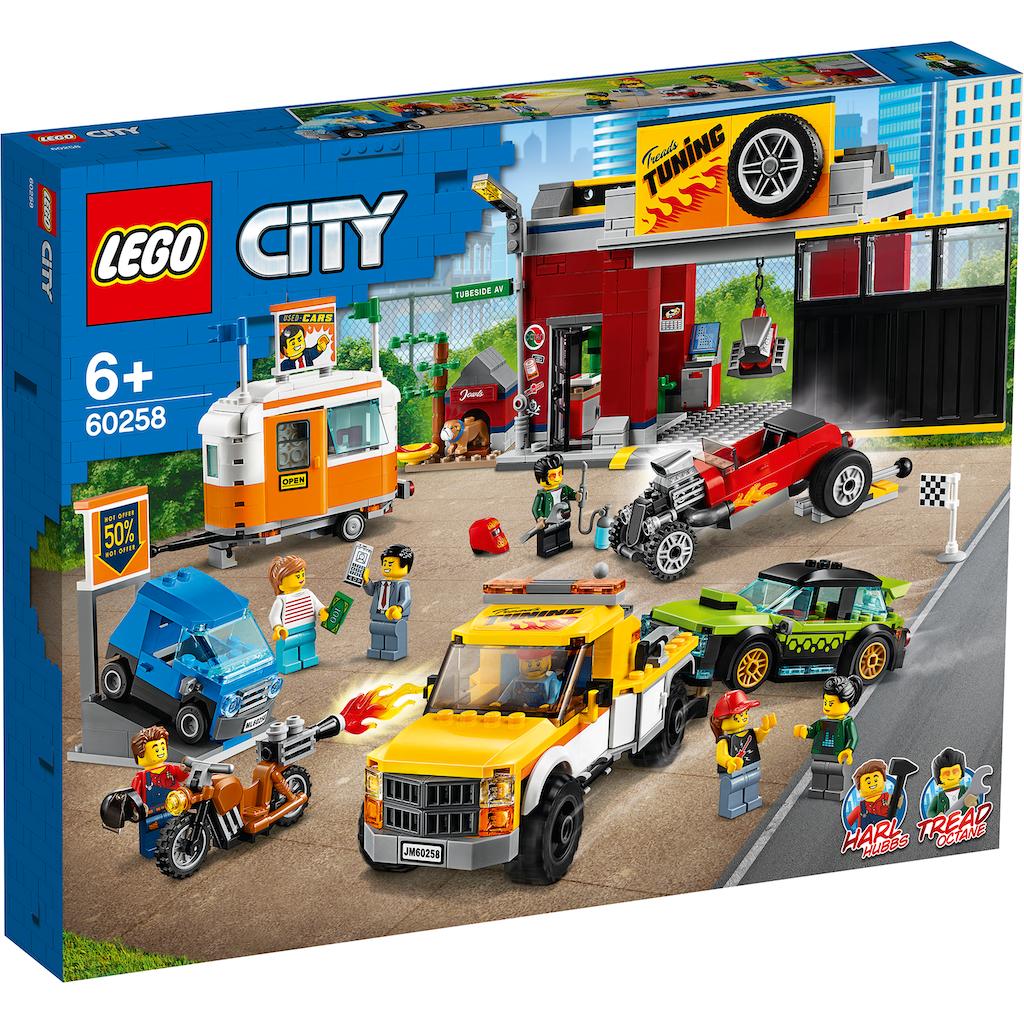 LEGO® Konstruktionsspielsteine »Tuning-Werkstatt (60258), LEGO® City Nitro Wheels«, (897 St.), Made in Europe