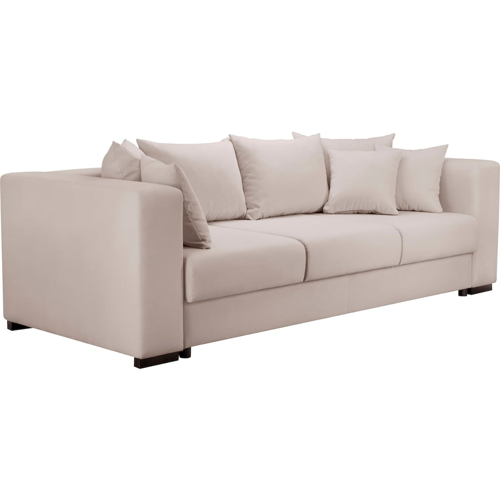 Home affaire 3-Sitzer »Foggia«, auch mit Bettfunktion/Bettkasten erhältlich, inklusive 3 Zierkissen