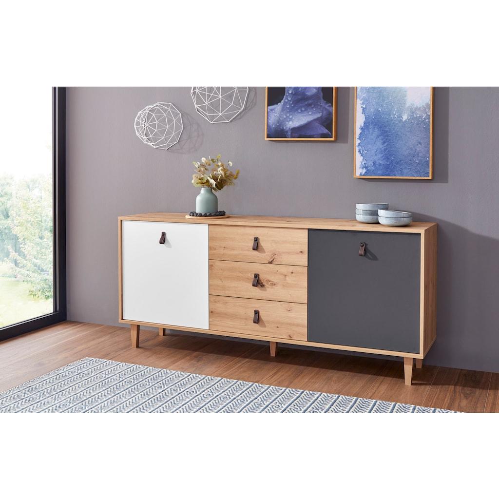 Homexperts Sideboard »Bristol«, Breite 120 cm oder 180 cm, mit massiven Eichefüßen