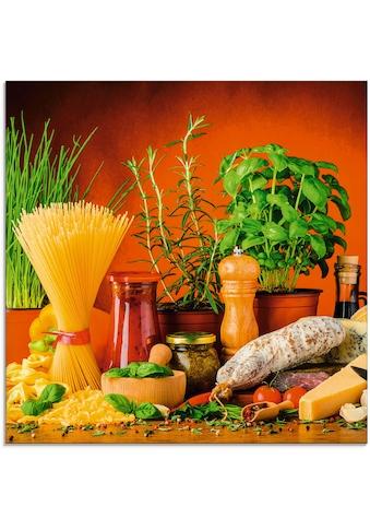 Artland Glasbild »Mediterranes und italienisches Essen«, Lebensmittel, (1 St.) kaufen