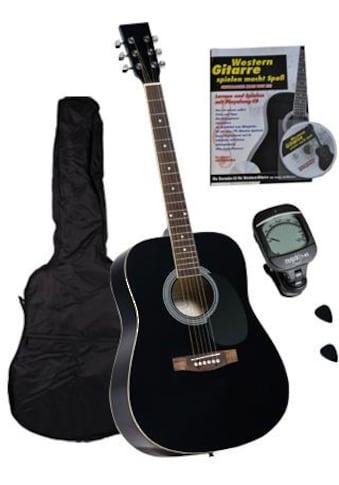 """Clifton Westerngitarre """"Dreadnought Gitarre mit Stimmgerät,Tasche, Heft und CD"""" 4/4 kaufen"""