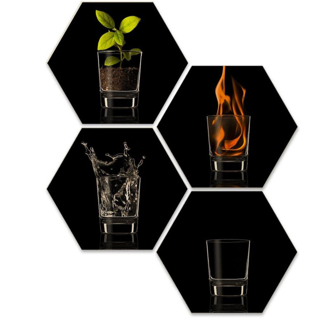 Wall-Art Mehrteilige Bilder »The Four Elements Vier Elemente«, (Set, 4 St.)