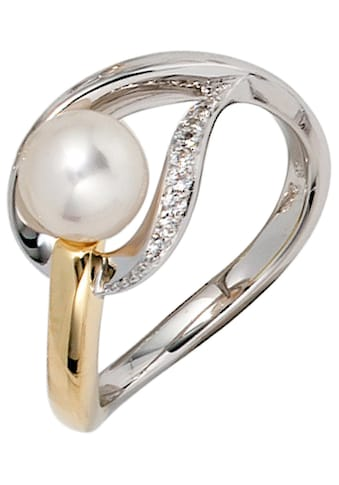 JOBO Diamantring, 585 Gold bicolor mit Perle und 9 Diamanten kaufen