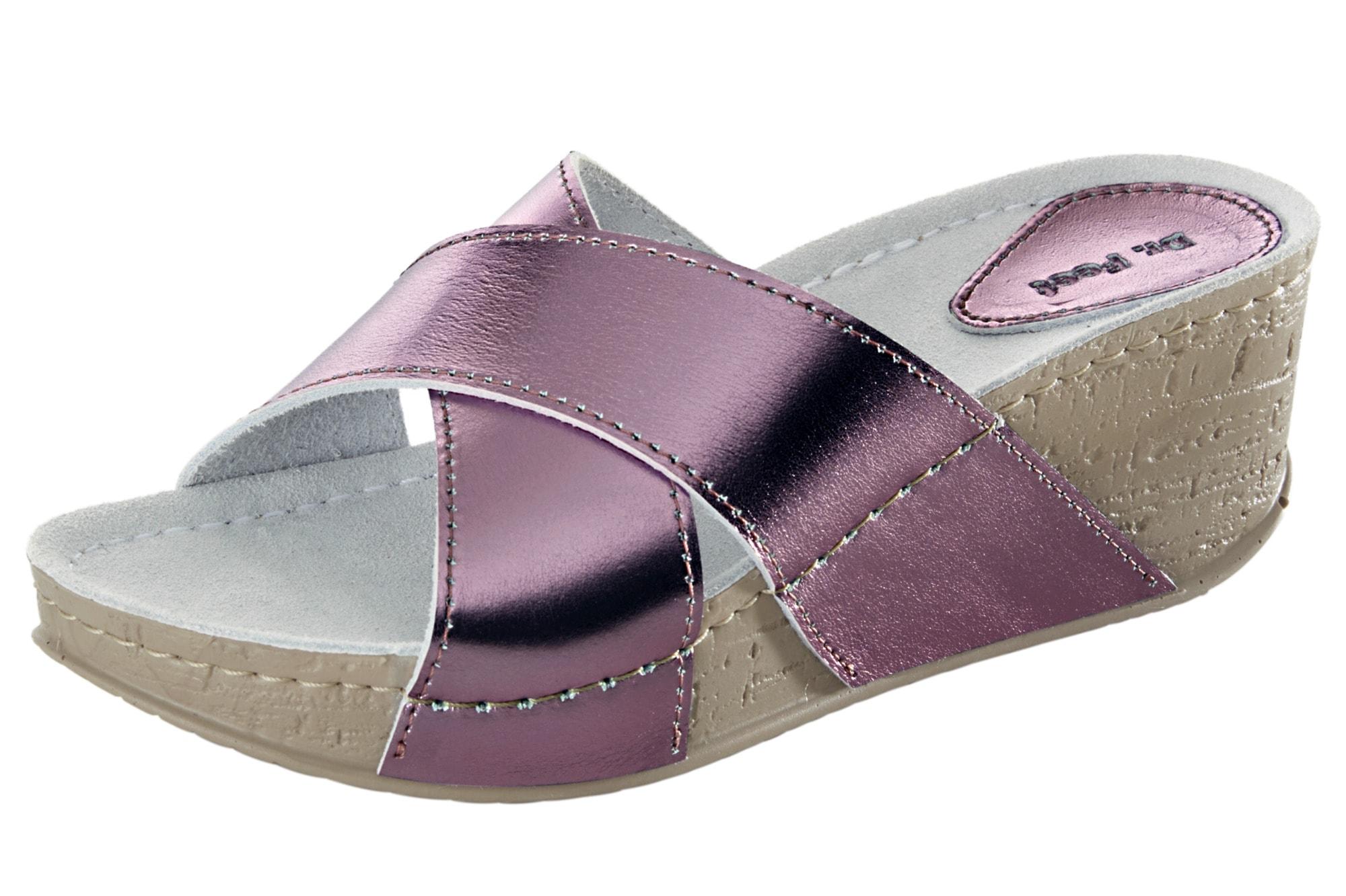 heine home Clogs mit überkreuzten Riemen   Schuhe > Clogs & Pantoletten > Clogs   Pink   Leder - Pu   Heine Home