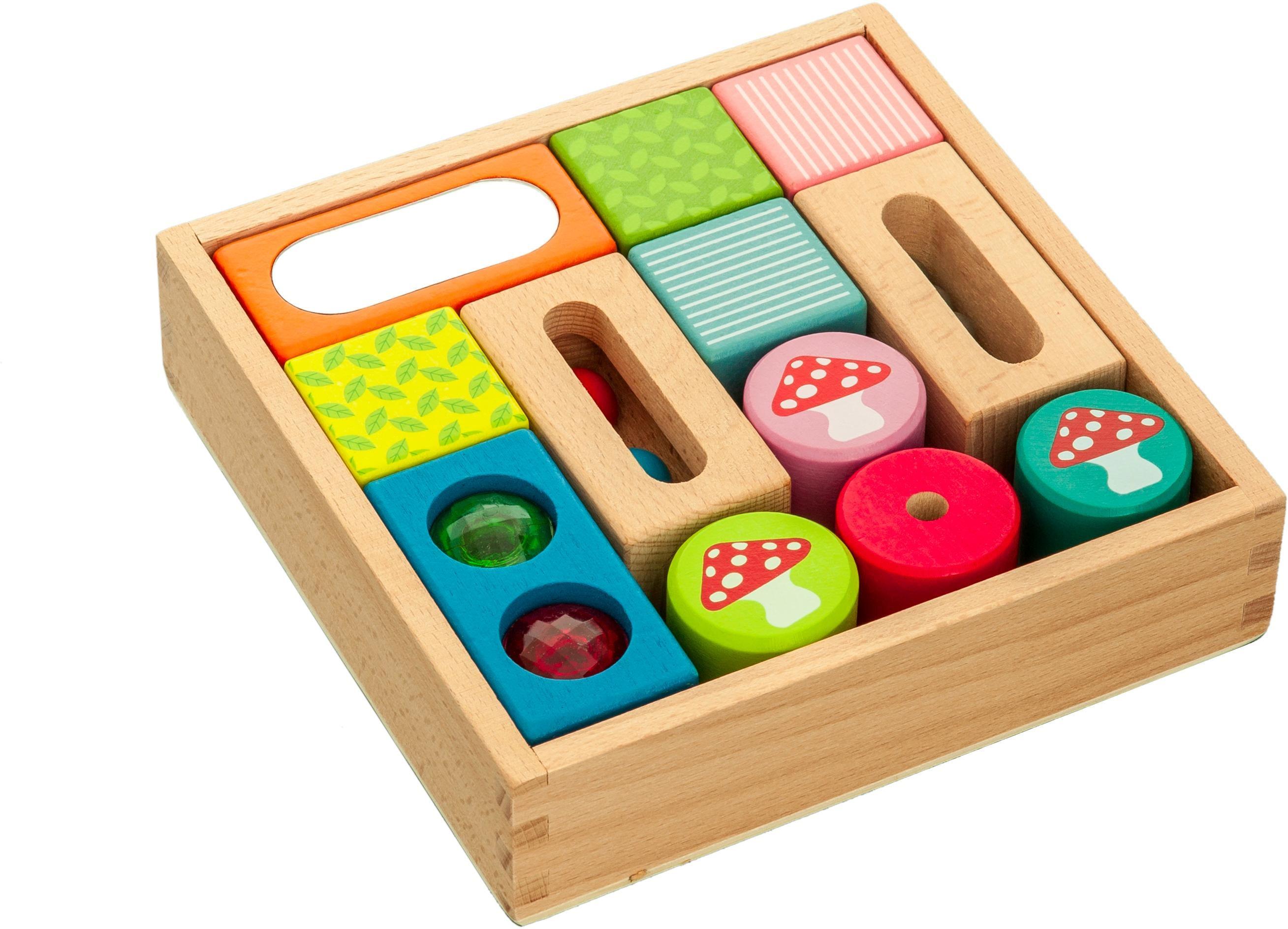 EverEarth Spielbausteine Entdecker-Bauklötze, Holz, (12-tlg.) bunt Kinder Ab 12 Monaten Altersempfehlung