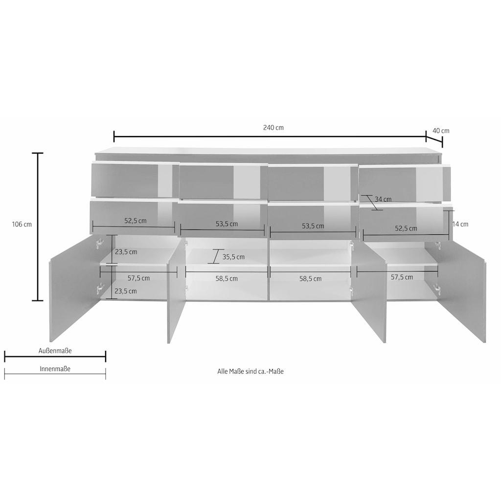 Tecnos Highboard »Magic«, Breite 240 cm, ohne Beleuchtung