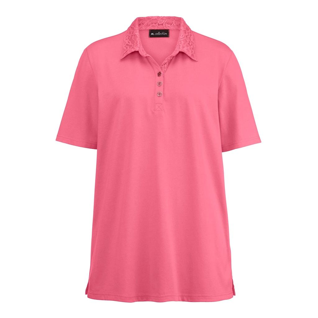 m. collection Poloshirt, mit aufwendiger Spitzenverarbeitung am Polokragen