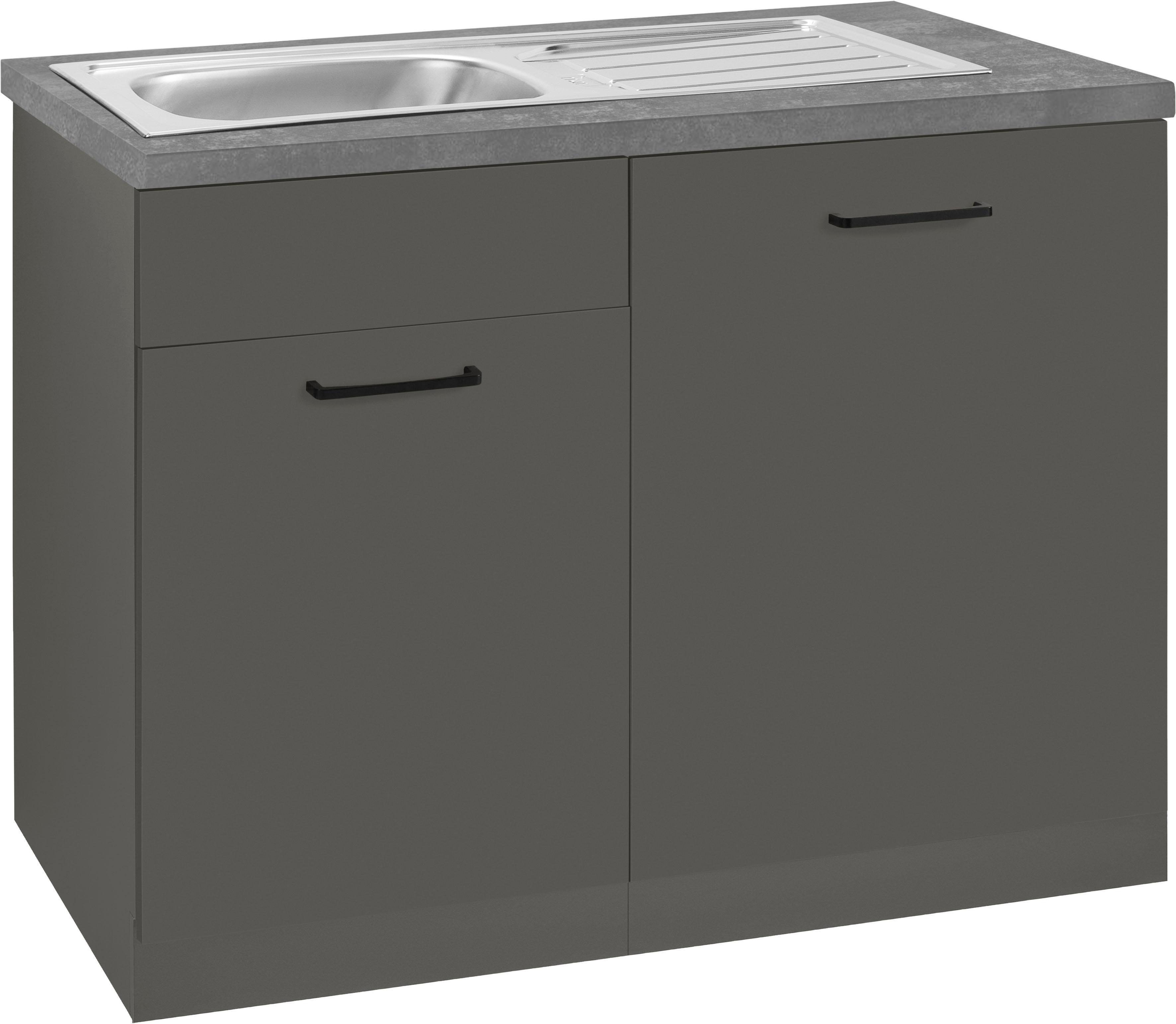 wiho Küchen Spülenschrank Esbo, 110 cm breit, inkl. Tür/Sockel für Geschirrspüler grau Spülenschränke Küchenschränke Küchenmöbel
