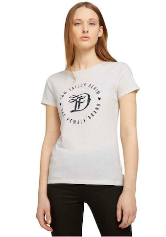 TOM TAILOR Denim Kurzarmshirt, mit großem, runden Logo-Print in Kontrastfarbe kaufen