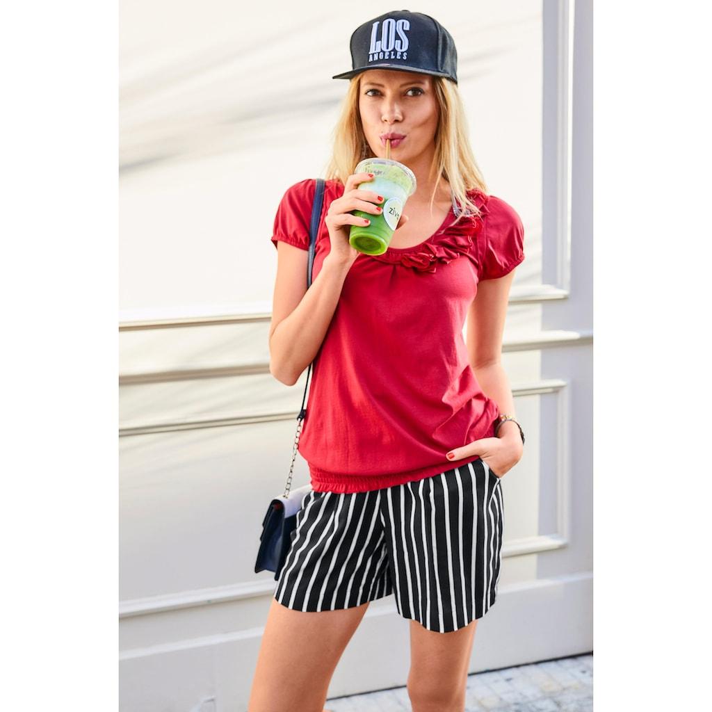 Aniston CASUAL Shorts, mit Streifen oder Tropical Print