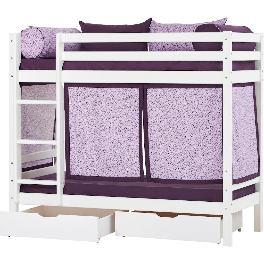 Hoppekids Etagenbett »Beautiful Bloom«, (Set, 4 St., Bett, Vorhang und zwei Matratzen)