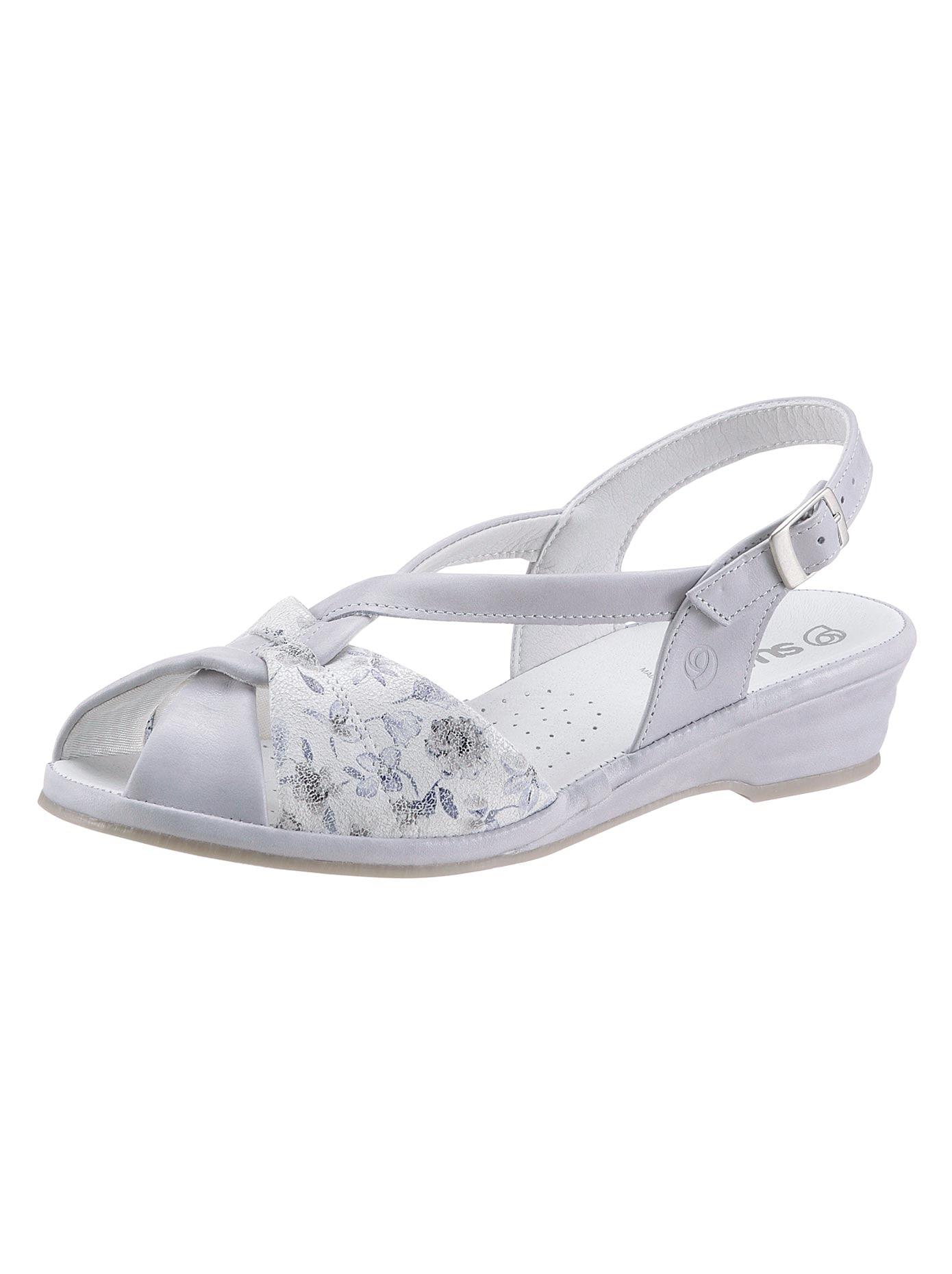 Suave Sandalette grau Damen Sandaletten Sandalen