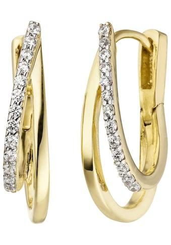 JOBO Paar Creolen, 375 Gold bicolor mit 26 Zirkonia kaufen