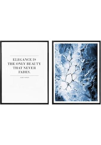 Wall-Art Poster »Blaue Eleganz«, (Set, 2 St.), mit Rahmen, Poster, Wandbild, Bild,... kaufen