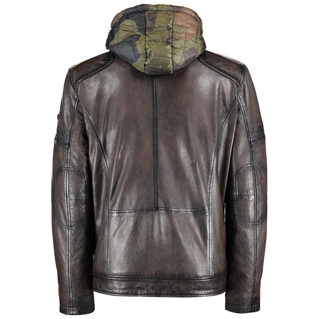 DNR Jackets Herren Lederjacke mit Kapuze und praktischen Taschen
