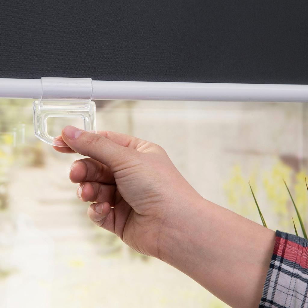 LICHTBLICK ORIGINAL Springrollo »Verdunkelungsrollo Klemmfix Mittelzug«, verdunkelnd, Perlreflex-beschichtet-energiesparend, ohne Bohren, freihängend, schnurlos