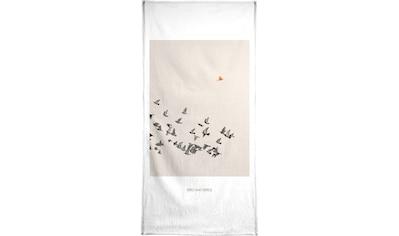 Juniqe Handtuch »Bird And Birds«, (1 St.), Weiche Frottee-Veloursqualität kaufen