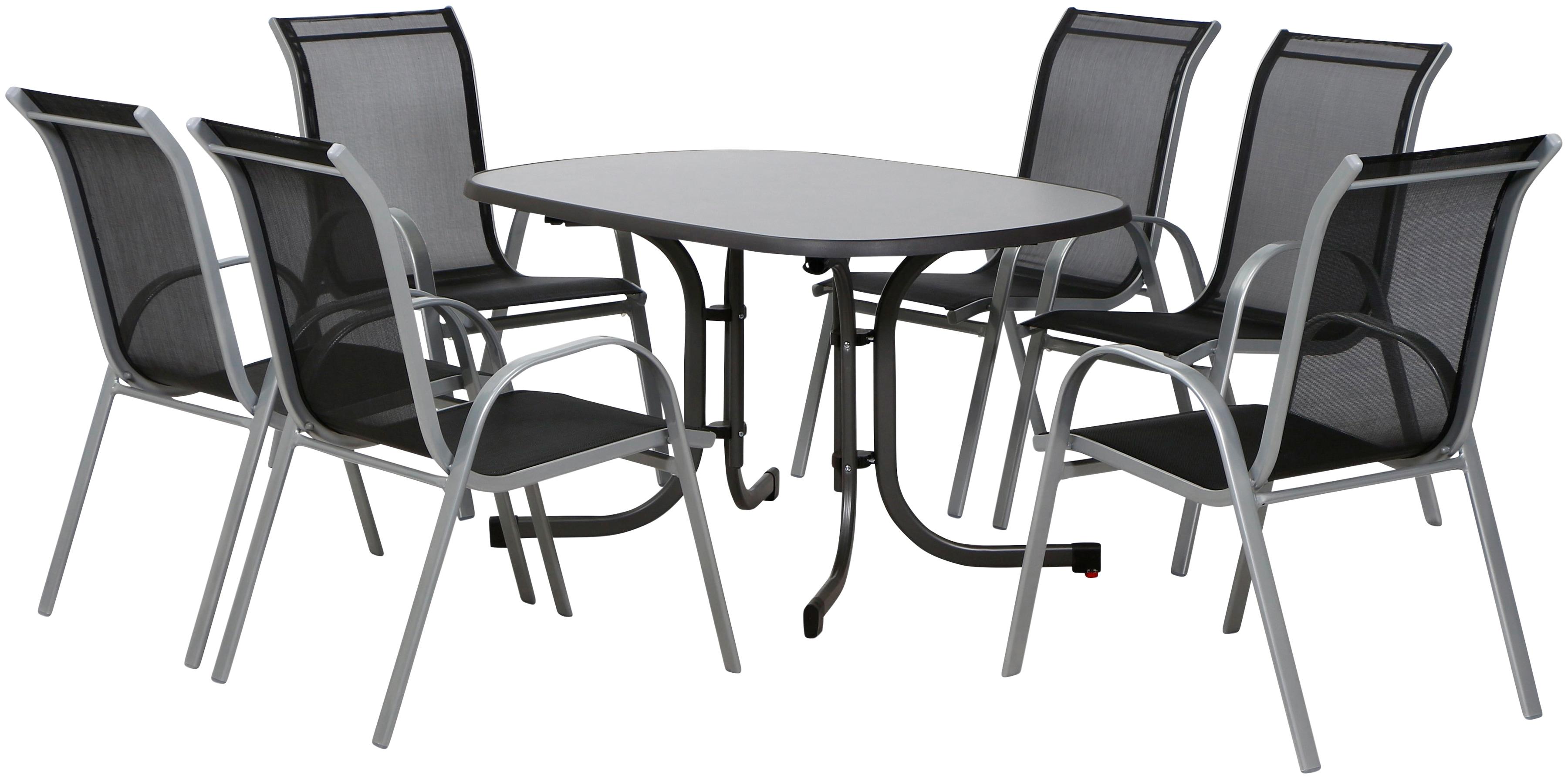 Gartenmöbelset SaturnII 7tlg Alu/Stahl 6 Stühle 1 Tisch 132x90 cm